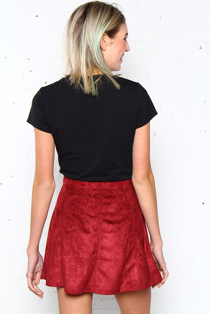 Left Of Center Suede Skirt