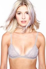 Lace Triangle Bralette - Taupe