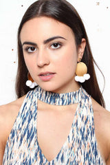 For The Record Pom Pom Earring - White