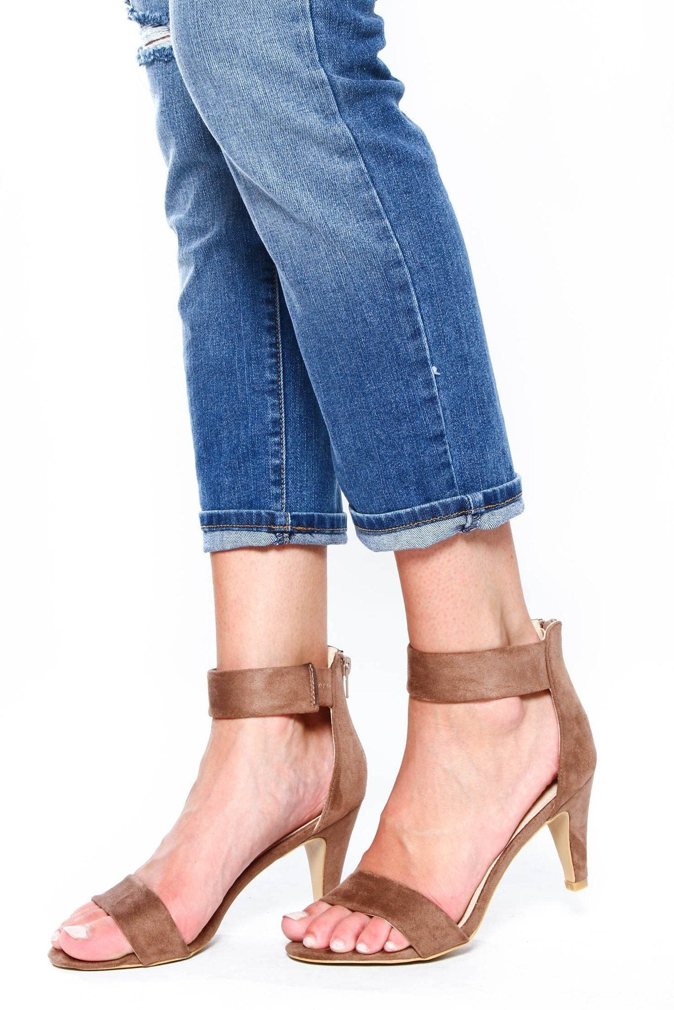 Elysa Ankle Strap Heel - Taupe