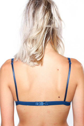 Lace Triangle Bralette - Navy