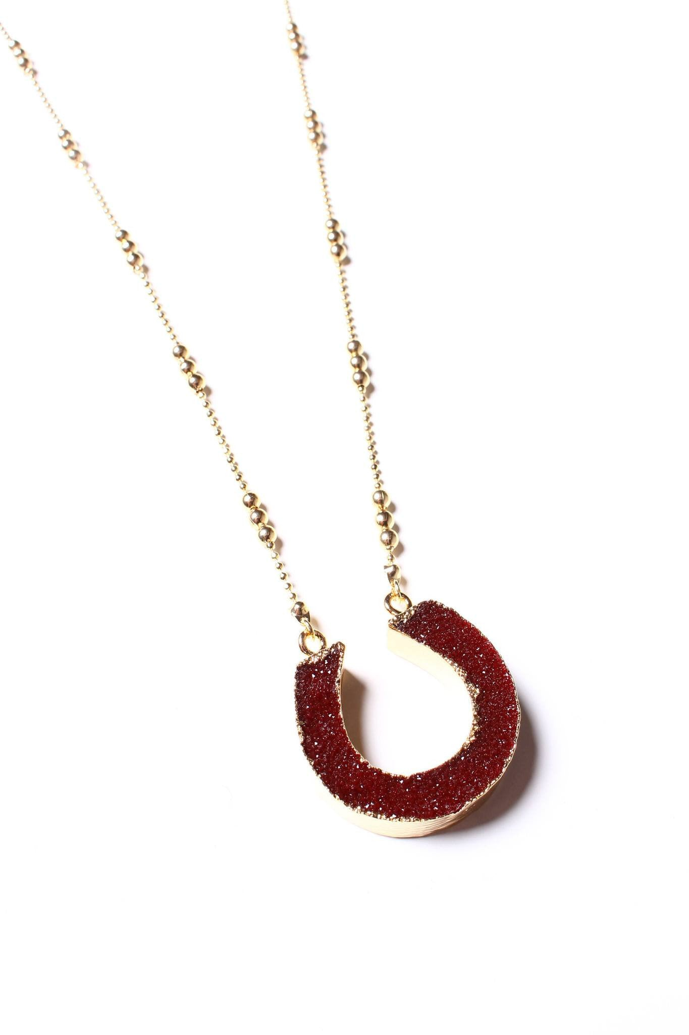 Bring It Back Druzy Pendant - Wine