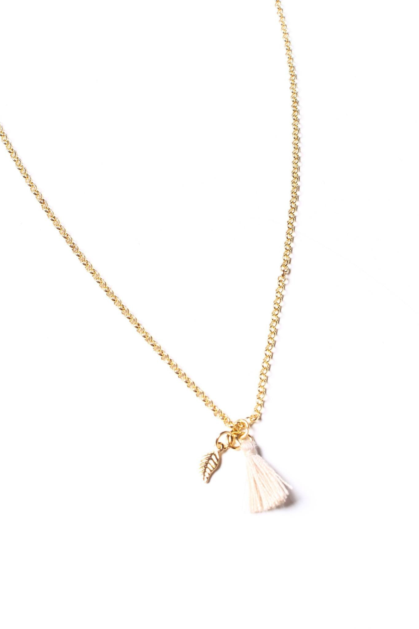Leaf Tassel Necklace - Taupe