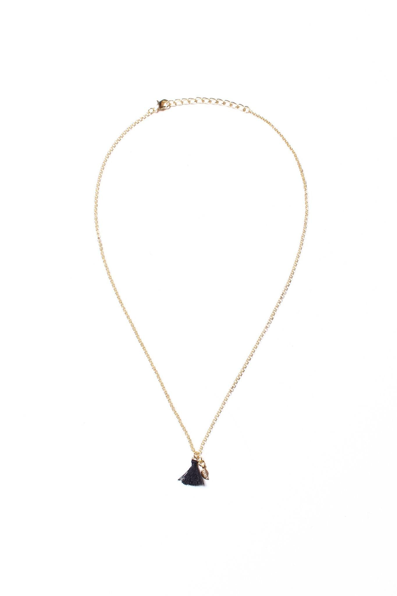 Leaf Tassel Necklace - Black
