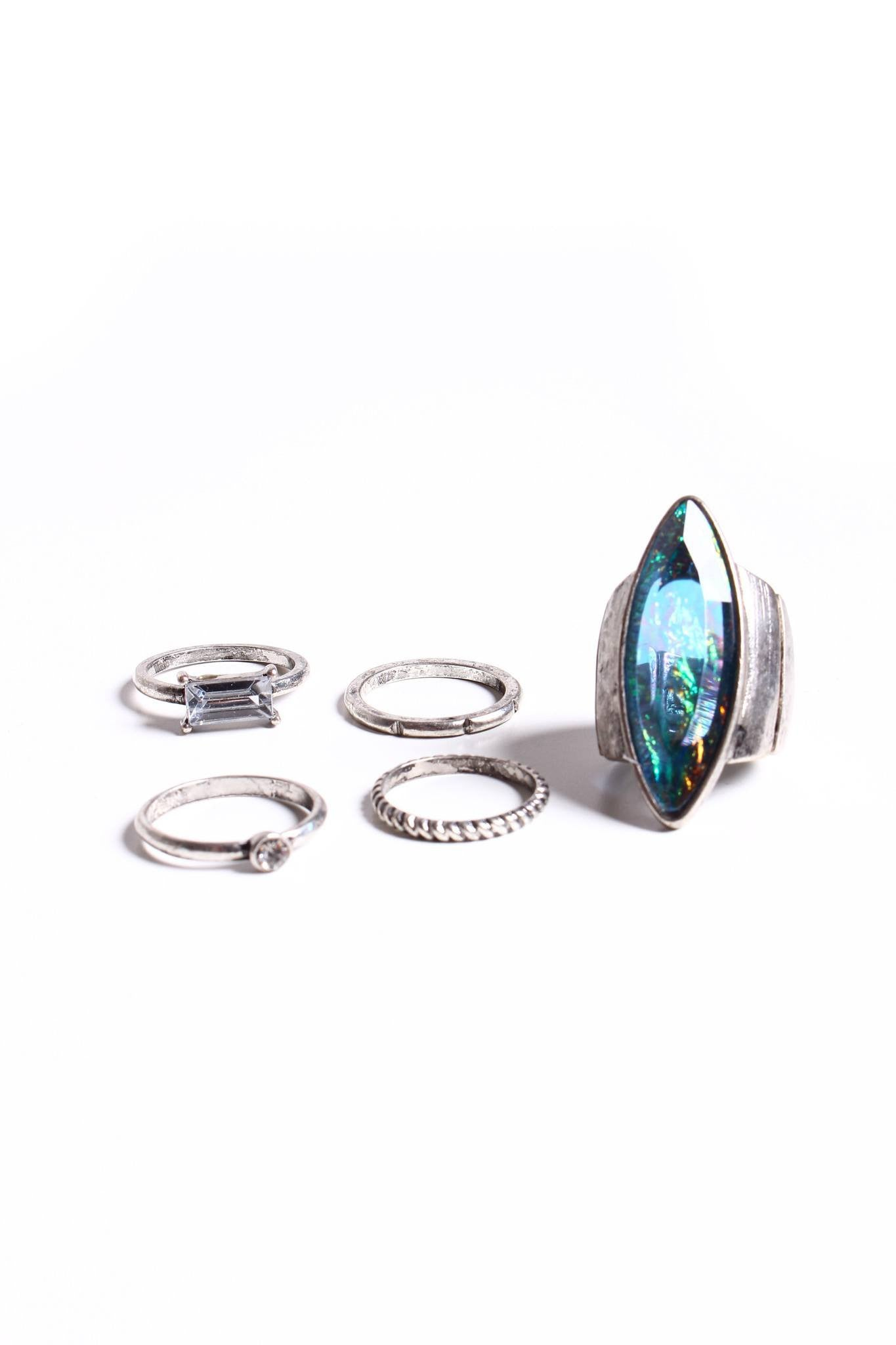 In The Clear Ring Set - Silver