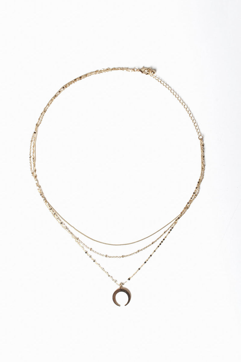 Dainty Layered Crescent Necklace - Gold
