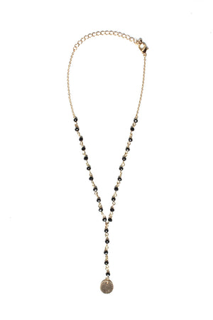 Lara Beaded Y Necklace - Black