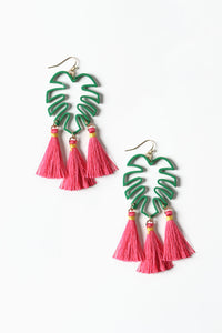 Palm Leaf Tassel Statement Earrings