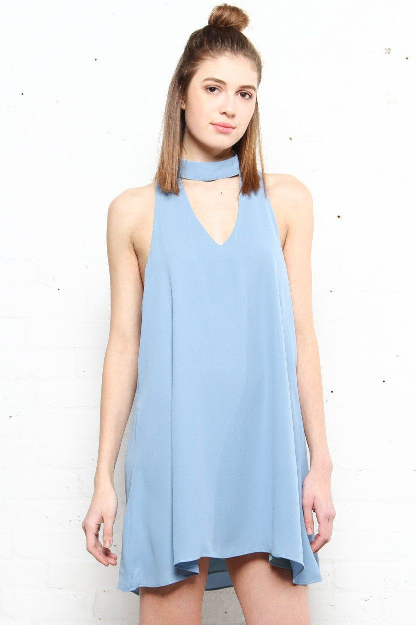Eva Choker Dress - Fray Blue