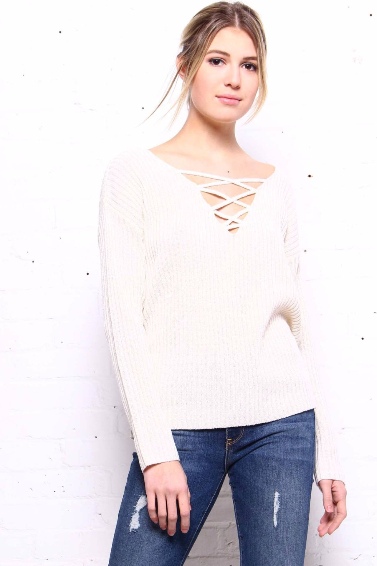 Crossed Out Knit - Oatmeal