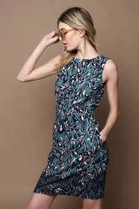 Apricot Tropical Print Scuba Dress