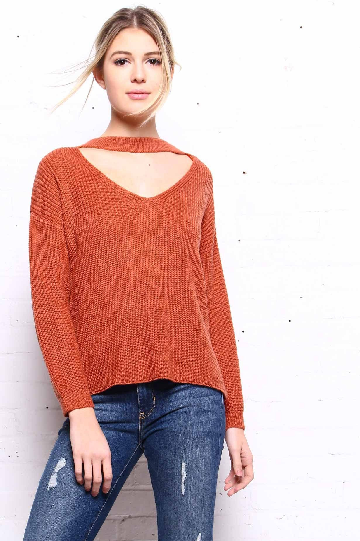 Brave Front Choker Sweater - Rust