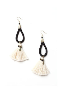 Looped Cord & Tassel Earrings - Black