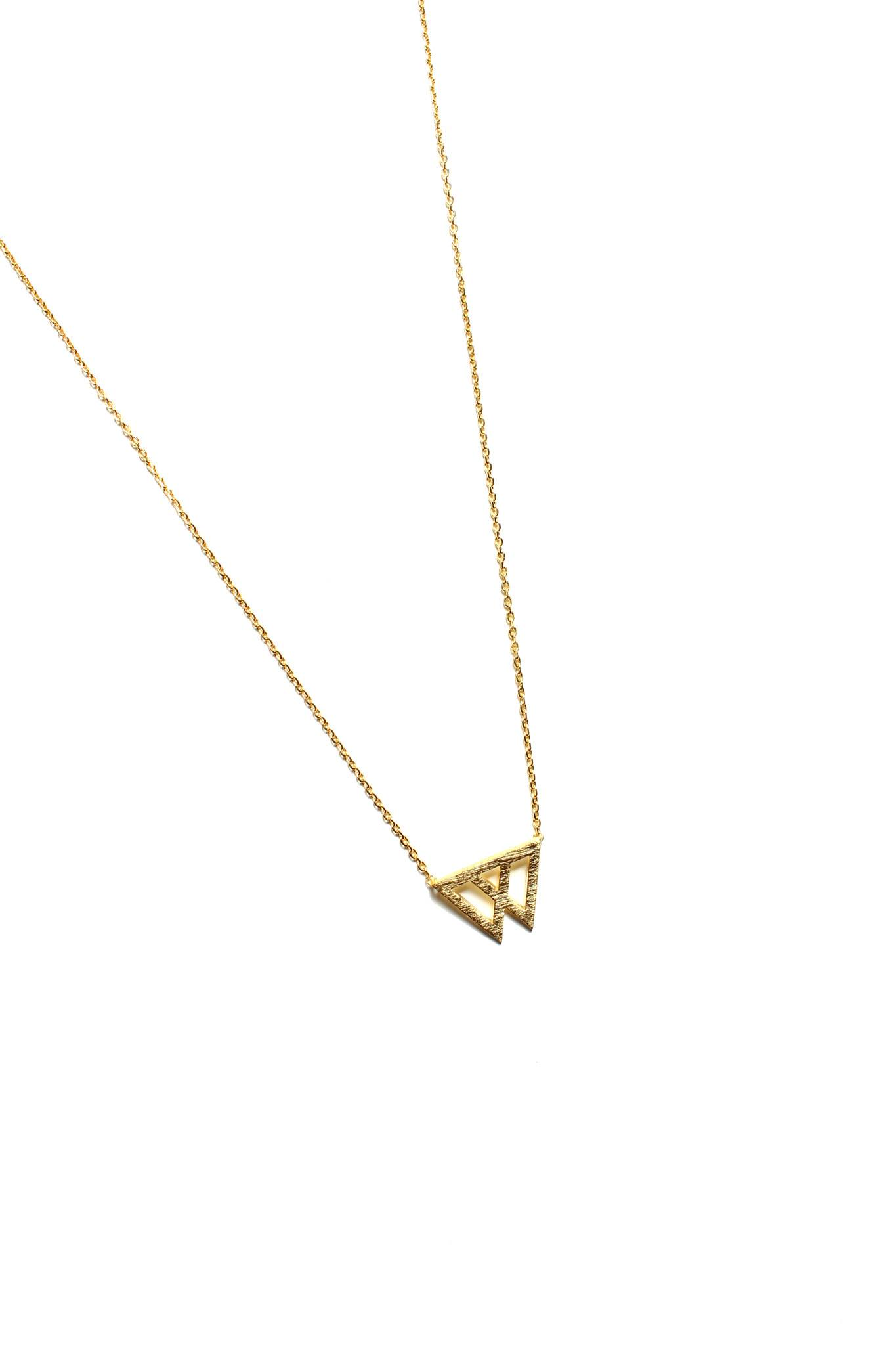 Linked Triangle Necklace - Gold