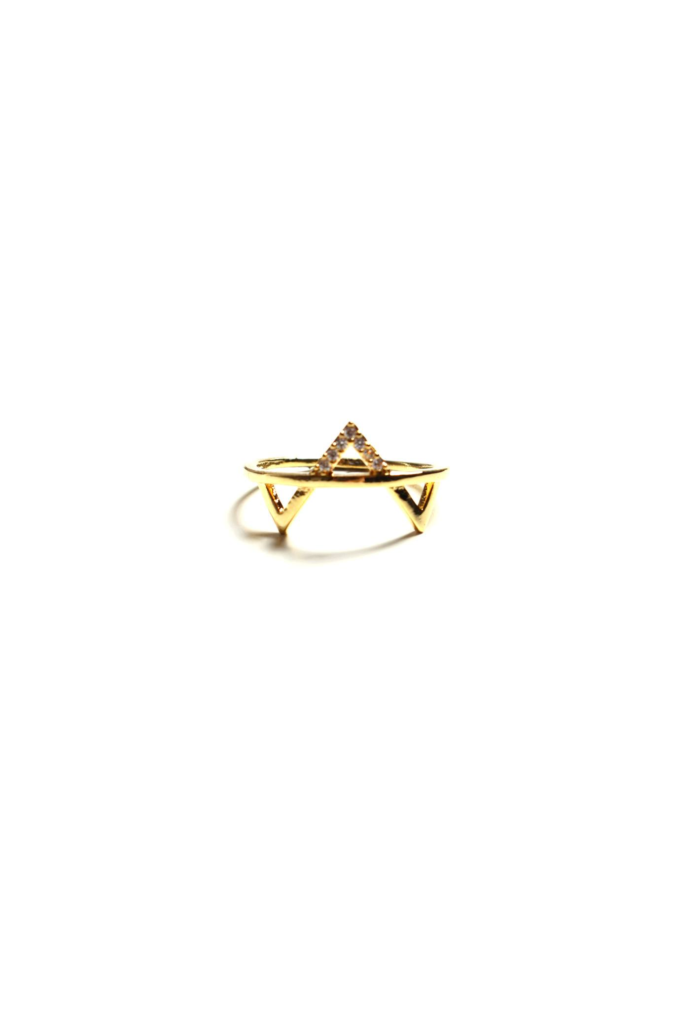 Cubic V Ring - Gold