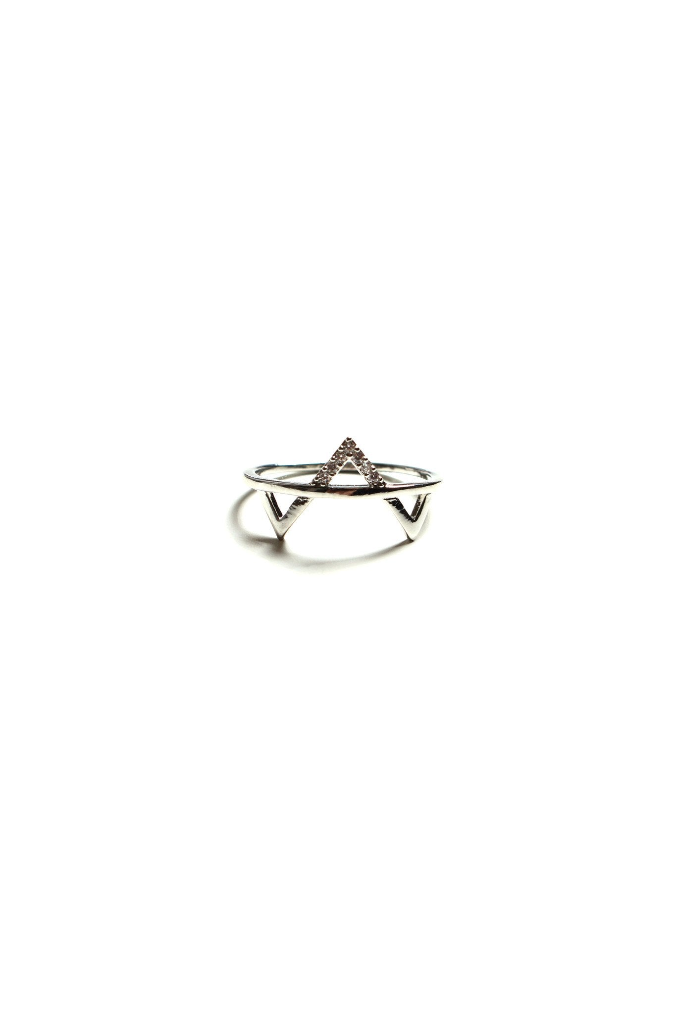 Cubic V Ring - Silver