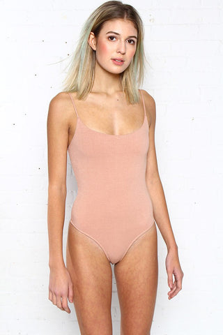 Afterthought Ribbed Bodysuit - Nude