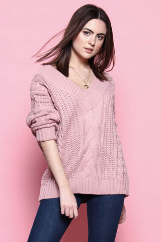 Cable Knit V-Neck Sweater - Mauve