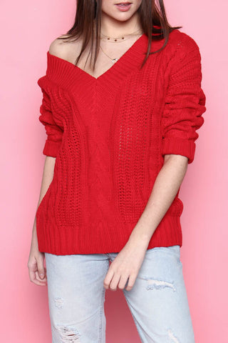 Cable Knit V-Neck Sweater - Red