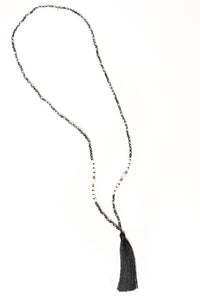 Beaded Tassel Pendant Necklace - Black