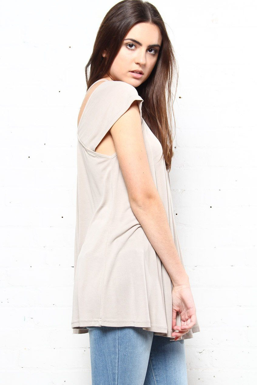 Stand A Chance Cutout Tunic - Taupe