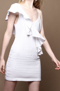 One Shoulder Ruffle Dress - White