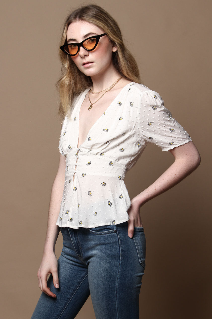 Daisy Print Puff Sleeve Peplum Top - White