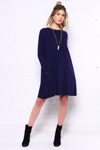 Full Swing Tee Dress - Navy