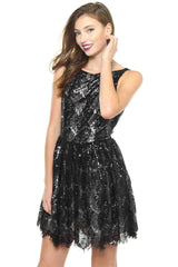 BB Dakota Sabrina Sequin Lace Dress