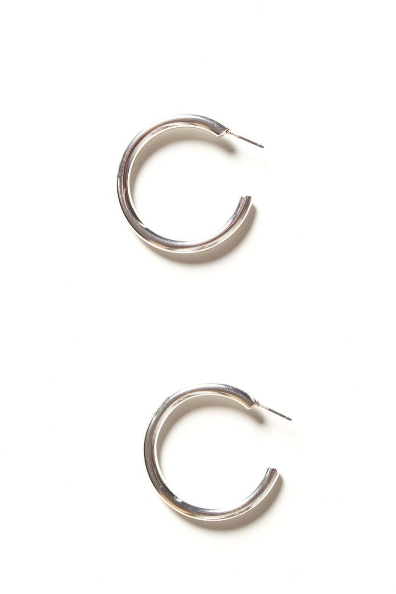 Thick Hoop Earrings - Silver