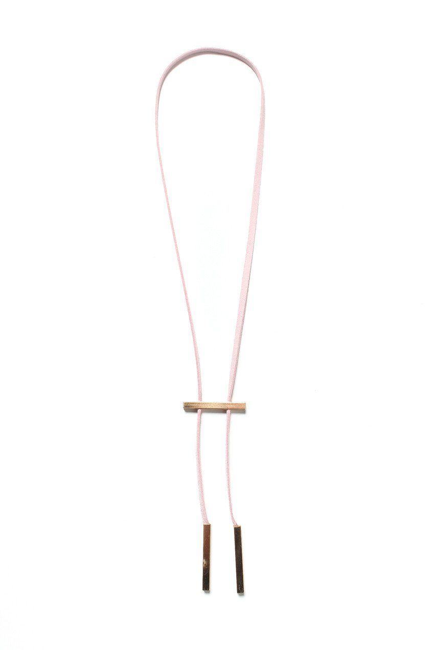 Set The Bar Lariat Necklace - Pink