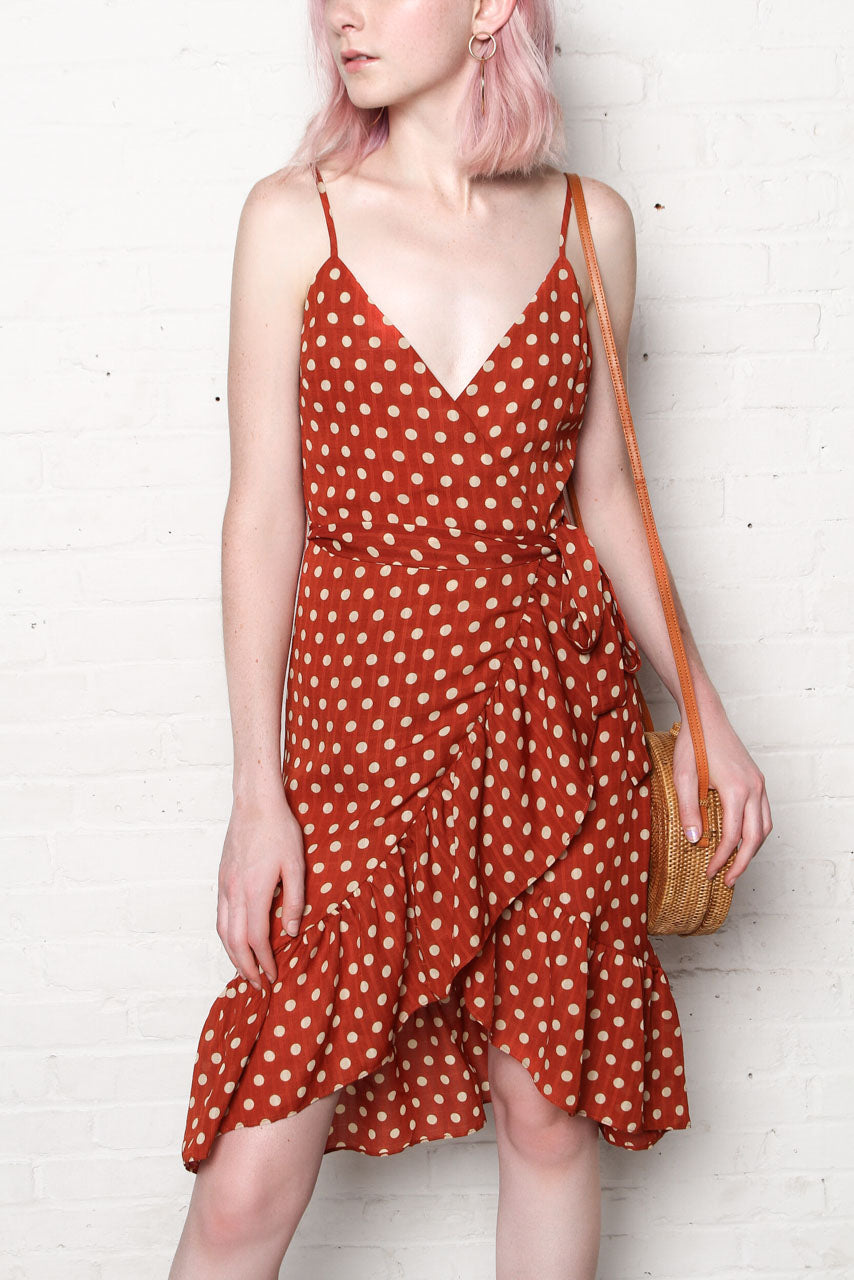 JOA Polka Dot Midi Dress - Mahogany