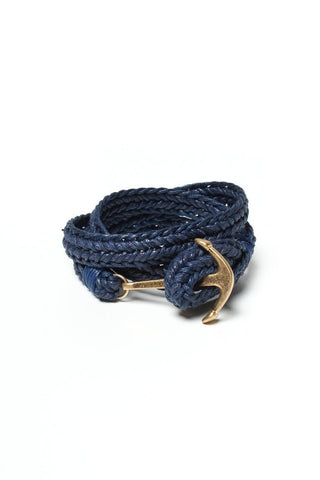 Braided Anchor Bracelet - Navy