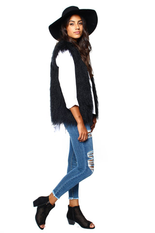 MINKPINK Pretty In Pink Fur Vest - Black