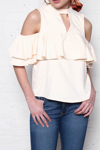 JOA Far Off Cold Shoulder Ruffle Top - Ivory