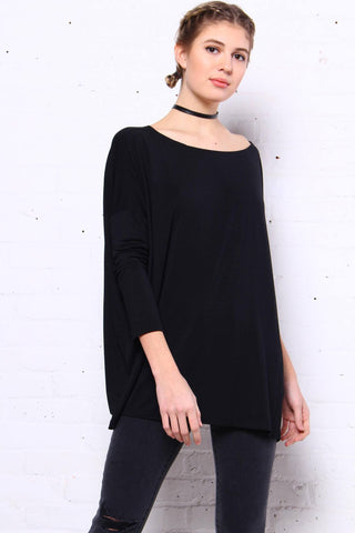Down Time Long Sleeve Top - Black