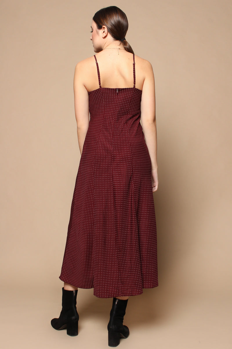 Ruched Front Polka Dot Midi Dress - Burgundy