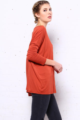 Down Time Long Sleeve Top - Rust