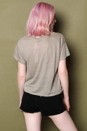 Cool It Linen Choker Tee - Moss