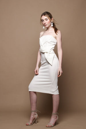 Twisted Bandeau Strapless Midi Dress - White