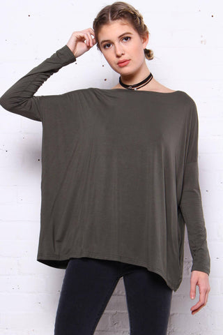 Down Time Long Sleeve Top - Army