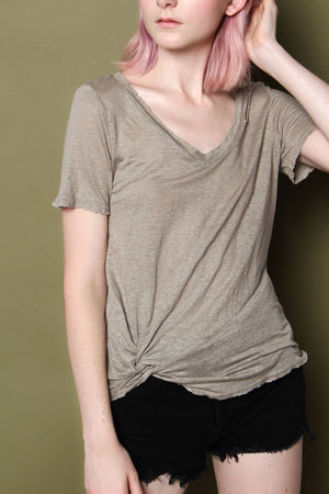 Twisted V-Neck Linen Tee - Army Green
