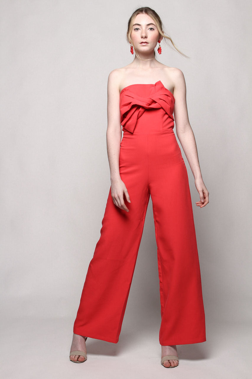 Bow Bandeau Strapless Jumpsuit - Cherry Red