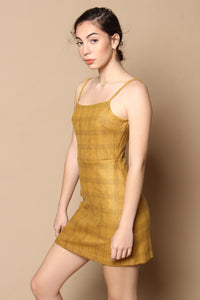 Claire Plaid A-Line Dress - Mustard