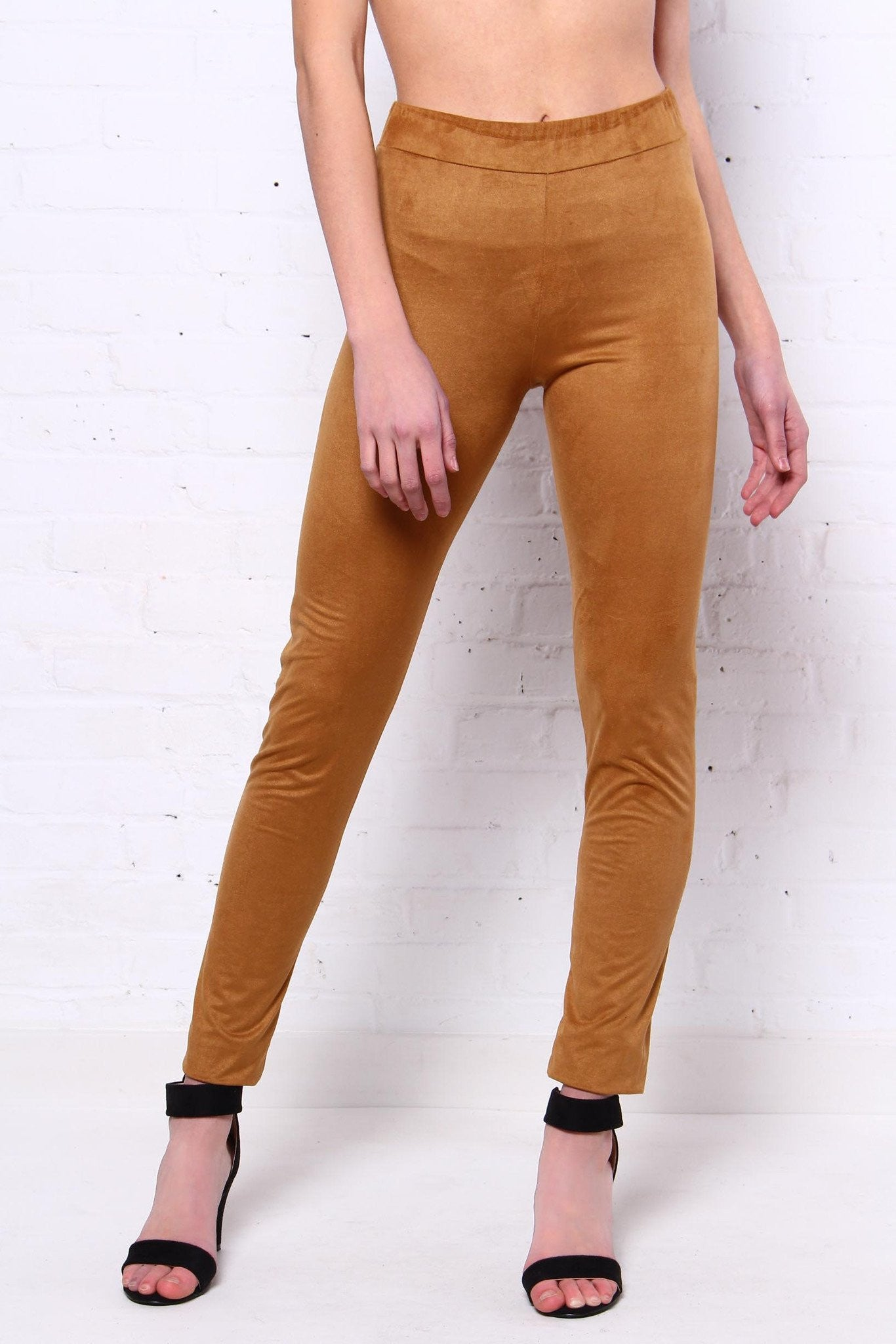 Up The Ante Suede Leggings - Camel
