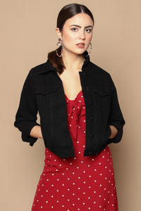 After Dark Cropped Denim Jacket - Black