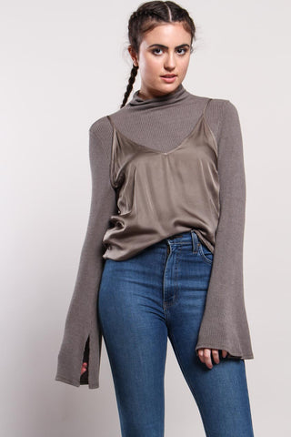 Project Social T Becca Funnel Neck Ribbed Top - Graphite