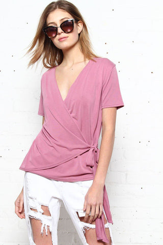 To The Side Tie Top - Mauve
