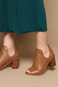 Chinese Laundry Carlita Peep Toe Leather Bootie - Honey