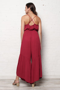 BB Dakota Makin' Moves Ruffle Leg Jumpsuit - Light Burgundy